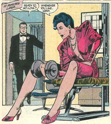 Lois Lane lifting weights in an evening gown