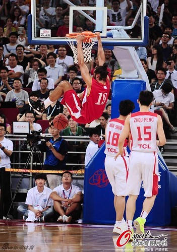 July 1st, 2013 - Joakim Noah throws down a dunk during the Yao Foundation charity game in Beijing
