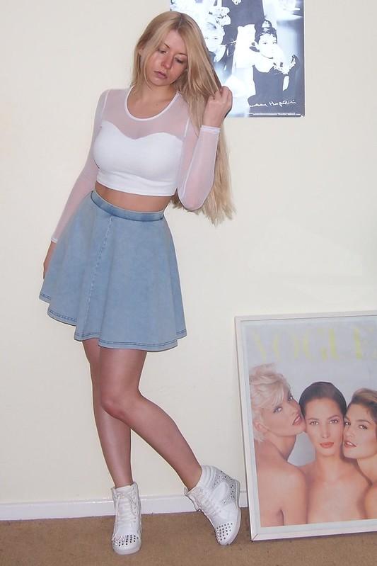 Topshop, Denim Mini Skirt, Circle Skirt, American Apparel Dupe, Primark, Wedge High-Tops, Hi-Tops, Crop Top, Sports Luxe, New Look, Mesh, Long-Sleeved