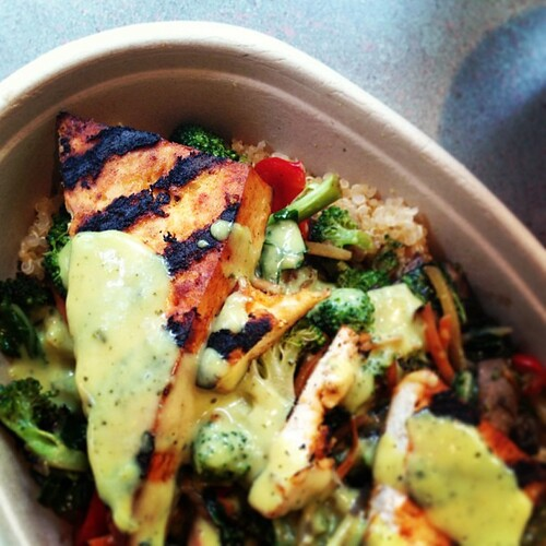 Had this to eat several times at Wanderlust and have been thinking of it non-stop. Green Curry Tofu Quinoa Bowl.