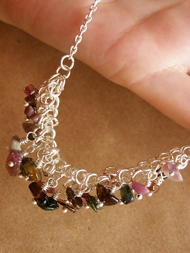 Necklace with tourmaline. Shards of summer.