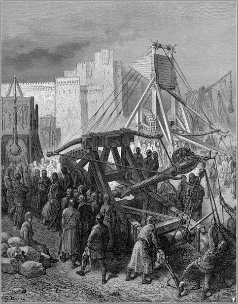 9. Caballeros y su maquinaria de guerra. De la obra Las Cruzadas. Gustavo Doré (1832-1883)