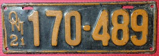 ONTARIO 1921 ---SIX DIGIT LONG VERSION LICENSE PLATE
