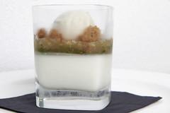 Mojito cremoso...gelato al rum, granita allo zucchero moscobado, gelatina di menta, crema di lime