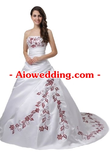 Faironly M56 Red Embroidery White Wedding Dress