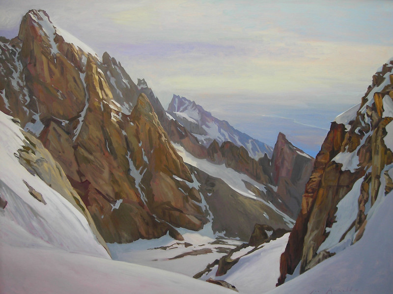 "Oil on linen | 54 x 72 inches | Deep snow changes everything in the mountains: there's more wildness, more beauty, more risk, and more fun, (especially if skis are involved). Plus, a normally crowded mountain will be all to yourself. That's all music to the ears of a mountaineer.  This view from the col above Middle Teton Glacier is dominated by the South Ridge, or ""Exum Ridge"" of the Grand"