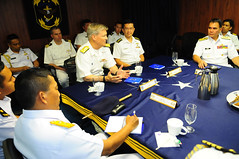 Senior leaders hold discussions aboard USS Blue Ridge (LCC 19) in Singapore, May 6. (U.S. Navy/MC1 Joshua Karsten)