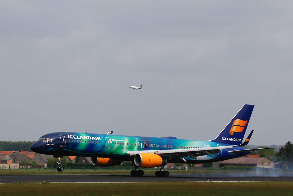 Hakla Aurora Icelandair 757 for the first time in Brussels Airport (reg. TF-FIU MSN26243 LN:603)