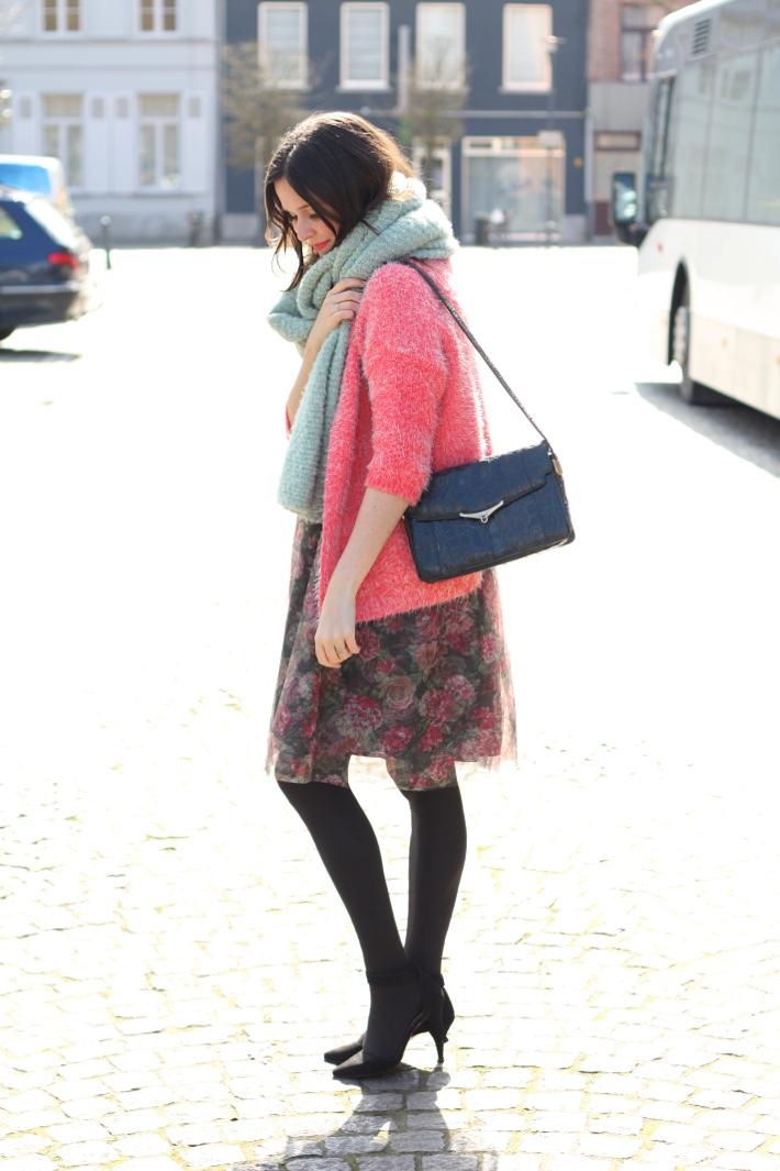 outfit: floral tutu skirt, pink fluffy cardigan, vintage handbag