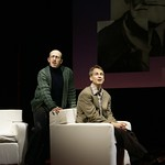 Marvin (Geoffrey Nauffts, seated) and his psychiatrist, Mendel (Steve Routman, standing) discuss Marvin's decision to leave his wife and son for another man  in the Huntington Theatre Company's production of