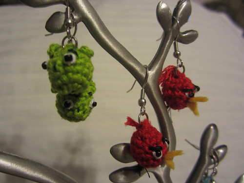 Angry bird earrings