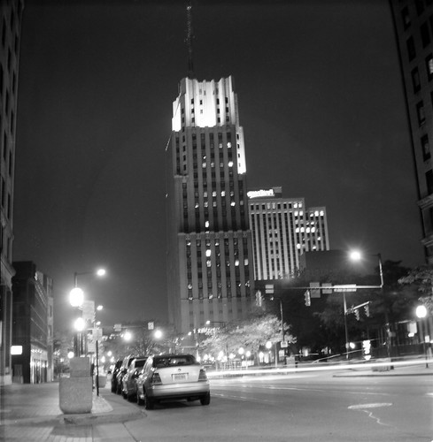 First National Bank Building at Night