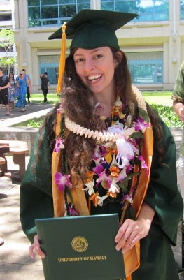 <p>Global environmental science graduate Christina Johnson at the University of Hawaii at Manoa commencement ceremony. May 11, 2013.</p>