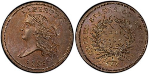 1793 half cent MS66BN Cohen 4