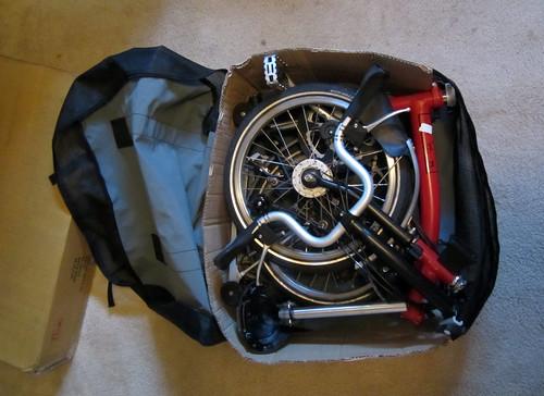 Brompton in kayak bag