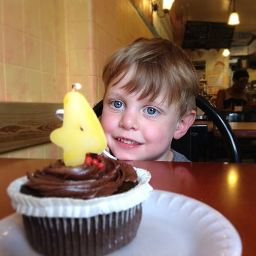 He woke up in time for a GF cupcake at Sweet 27 in Baltimore.