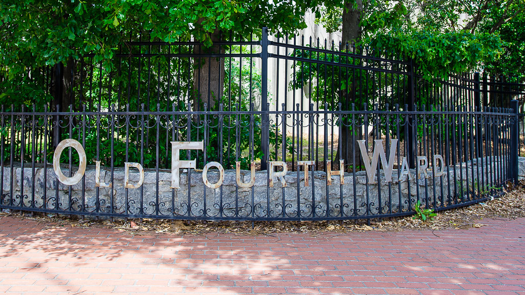 """Old Fourth Ward"" lettering on Iron Rail Fence in #Atlanta"