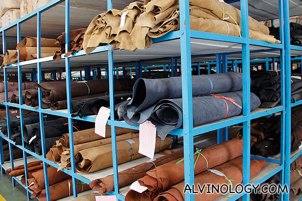 Storeroom for rolls of leather