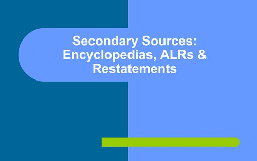 Secondary Sources Part 1