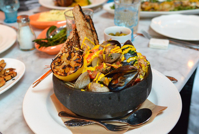 SEAFOOD STEW clams, mussels, squid, head on shrimp, grilled bread & harissa aioli