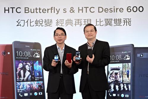 中華電信行動通信分公司總經理林國豐(左)與HTC北亞區總經理董俊良(右)一同發表HTC Butterfly s與HTC Desire 600。