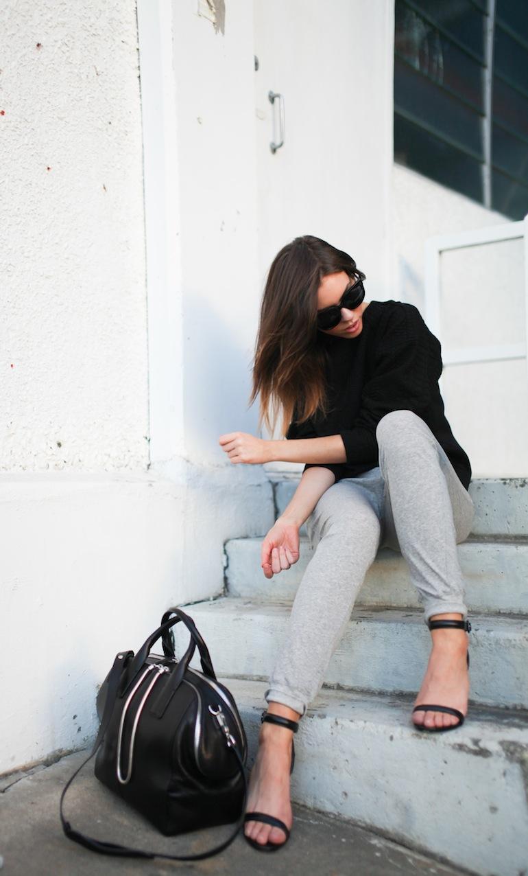 Modern Legacy fashion blog Australia Nicholas sweatshirt Bassike track pants Alexander Wang Jamie Chain Tote Bag Black Antonia heels Celine Audrey sunglasses (2 of 9)