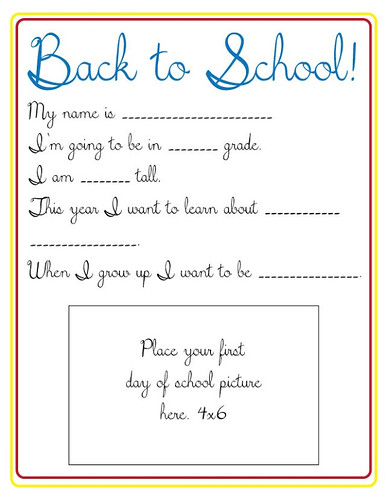 Back to School Survey (Photo from Poofy Cheeks)