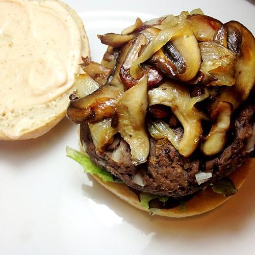 Dinner: black bean burger, caramelized onions and mixed mushrooms, mesclun greens and chipotle aioli. #vegan #homemade