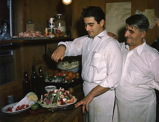 Louis and Michael Pappas preparing Greek salad at Riverside Cafe in Tarpon Springs, Florida