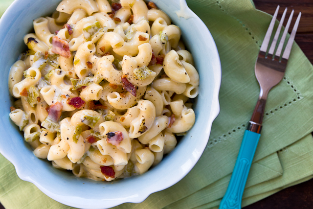 Hatch Chile and Bacon Mac & Cheese