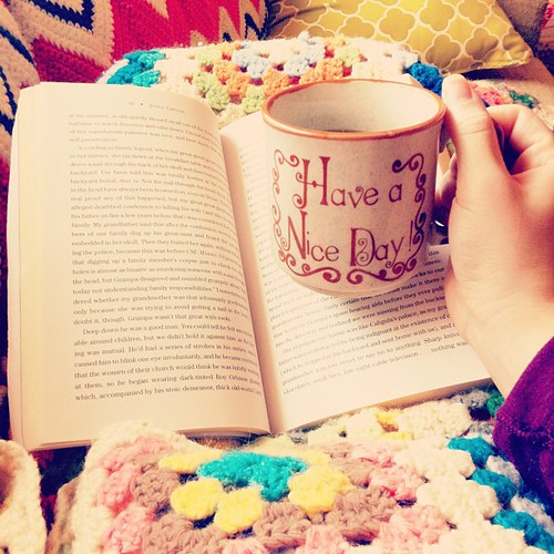 Early morning fog + cozy blankets + delicious coffee + a good book. A girl could get used to this.