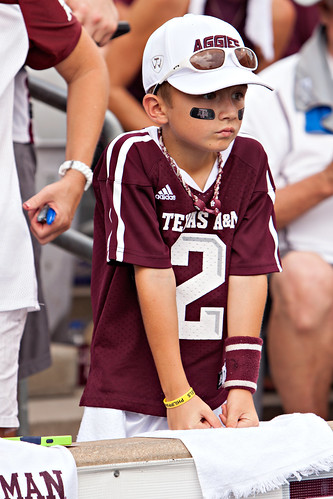 Young Aggie watching the game