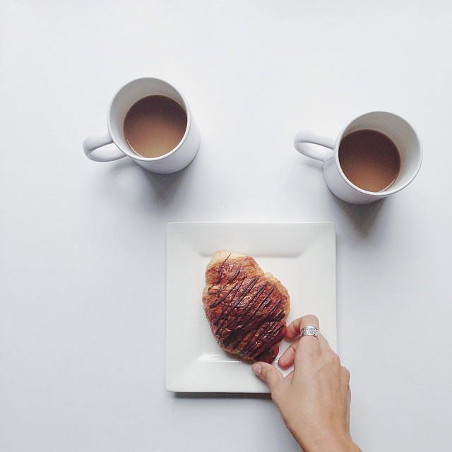 Good morning! ☕ Let's split a chocolate croissant!