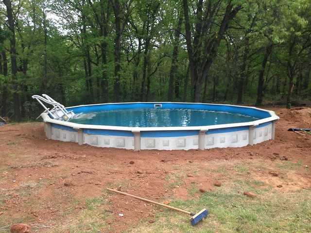 New pool and deck progress pics for Above ground pool backfill ideas
