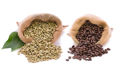 Coffee bean before and after roasted