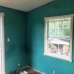 Getting trim on the windows and doors in the artist in residence guest room!  #habitablespaces #artistresidency
