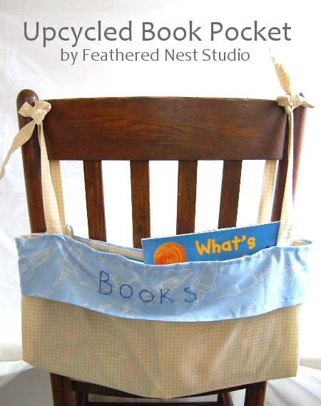 Upcycled Book Pocket tutorial by Feathered Nest Studio
