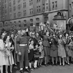 Crowd at the Victory Loan Indicator, Confederation Square, on V-E Day