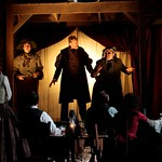 Joe Tapper, Jon De Vries, and Jeremiah Kissel recount their experience of performing King Lear for miners to members of the company in the Huntington Theatre Company's production of <i>How Shakespeare Won the West</i>, playing at the BU Theatre. Part of the 2008-2009 season. PhotoT Charles Erickson