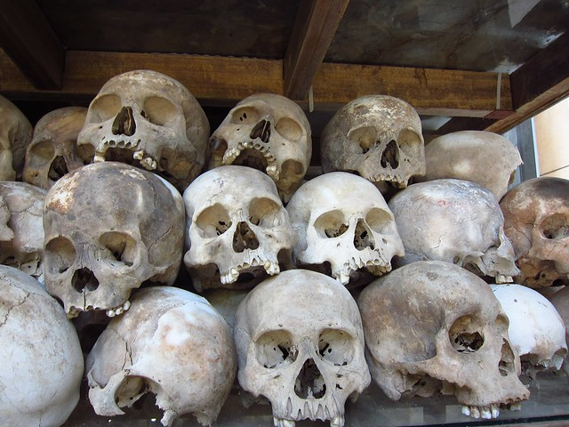Skulls at Killing Fields Memorial Stupa