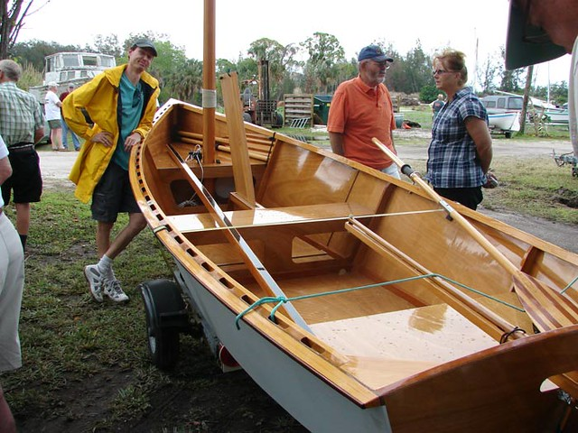Simon Lew's Goat Island Skiff in Florida.  Fast simple plywood sailing boat.