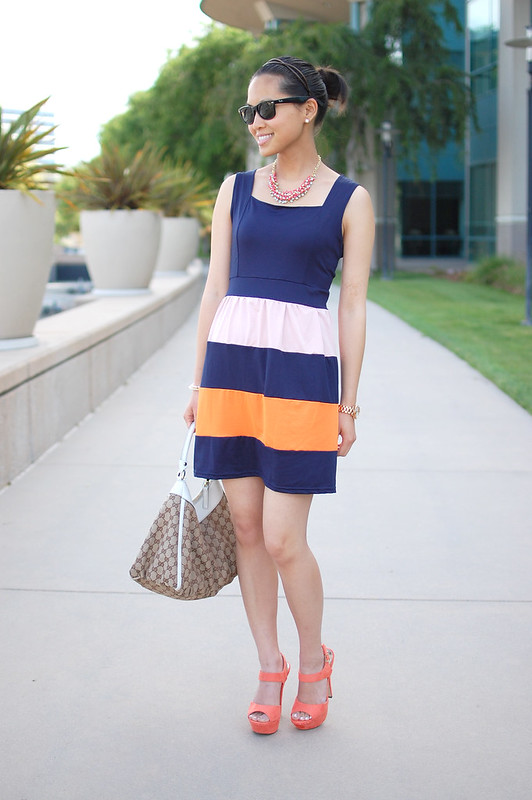 Oasap navy blue dress color block orange pink stripes