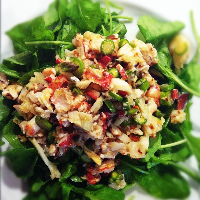 Arugula Salad with Lobster, Asparagus and Hazelnuts Lobster goodpic Cooking Recipes Asparagus