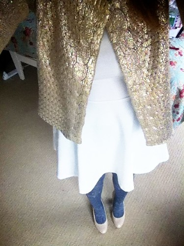 20.05.12 :: The Stylist's Subliminal Art of Persuasion. My new @Topshop Cap Sleeve Flippy Tunic, @Warestyle Gold Foil Print Cardi, & @tightsplease @redordeadlondon Ingie Patterned Tights.