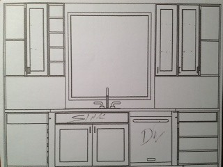 New kitchen - sketch of center wall
