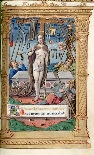 021- Cristo resucitado y emblemas de la pasion- HM 1124- fol 106- (C) 2006 The Regents of the University of California. All rights reserved