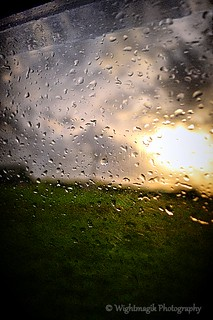 Rain on my window. Evening squall in the sunset.