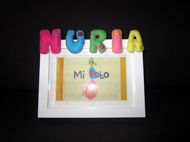 Marcos de fotos con nombre en Fieltro - ChikiPol - Nuria
