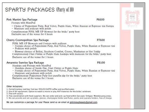 Pink Me Up Spa Party Package for 10