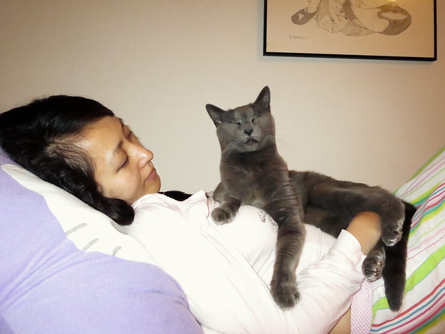 Helen with cat (2013)